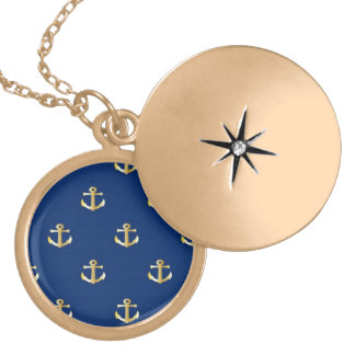 Gold Anchor On Navy Background Locket Necklace