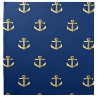 Gold Anchor On Navy Background Napkin