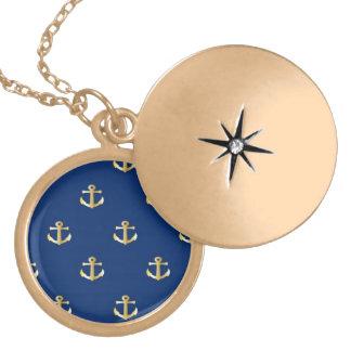 Gold Anchor On Navy Background Locket