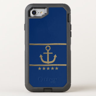gold anchor on navy blue background OtterBox defender iPhone 8/7 case