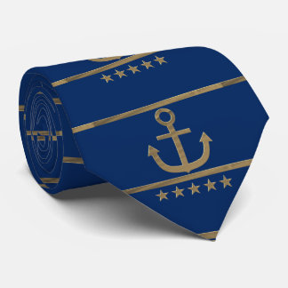 gold anchor on navy blue background tie