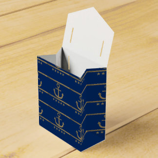 gold anchor on navy blue background wedding favour box