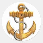 Gold Anchor Round Sticker