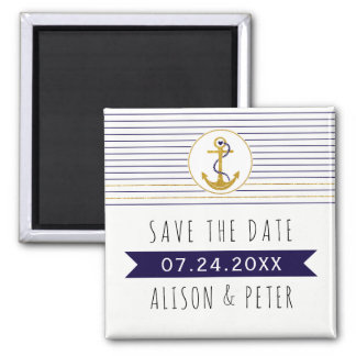 Gold anchor stripes nautical wedding Save the Date Square Magnet