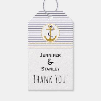 Gold anchor stripes nautical wedding Thank You Gift Tags