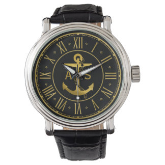 Gold anchor with Initials | Nautical Gifts Watch