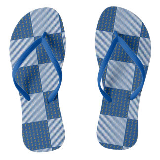 Gold anchors and navy blue stripes patchwork flip flops