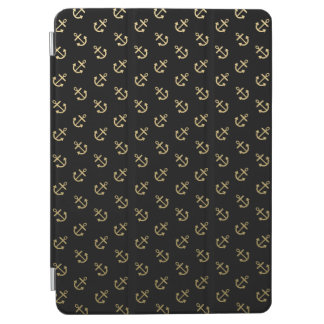 Gold Anchors Black Background Pattern iPad Air Cover