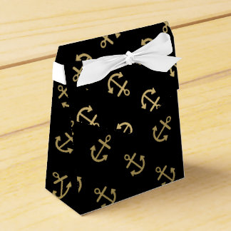 Gold Anchors Black Background Pattern Wedding Favour Boxes