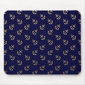 Gold Anchors Navy Blue Background Pattern Mouse Mat