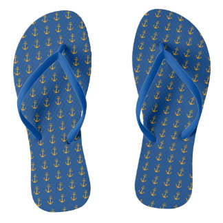Gold anchors on navy blue flip flops