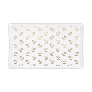 Gold Anchors White Background Pattern Acrylic Tray