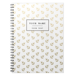Gold Anchors White Background Pattern Notebooks