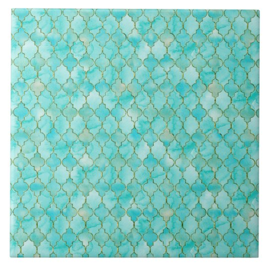 Gold and Aqua Maroccan pattern Large Square Tile