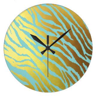 Gold and Aqua Tiger Striped Large Clock