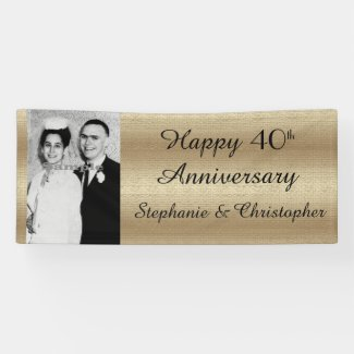 Gold and Black 40th Anniversary Party Trendy Photo Banner