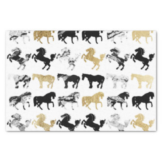 Gold and Black and White Marble Modern Horses Tissue Paper