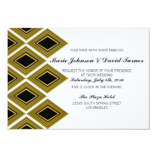 Gold and Black Art Deco 5x7 Wedding Invitation