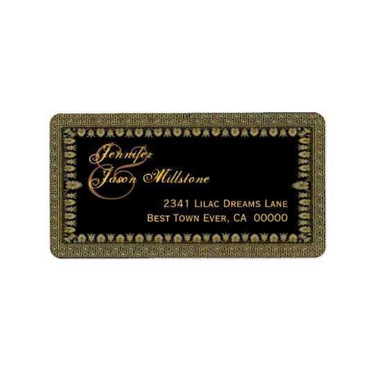 Gold and Black Art Deco Border Wedding Address