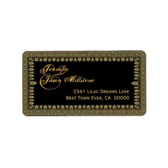 Gold and Black Art Deco Border Wedding Label