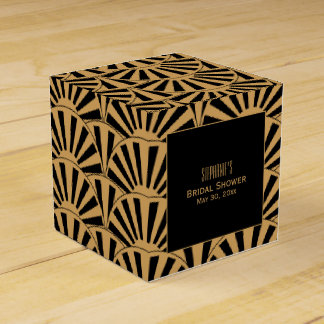 Gold and Black Art Deco Fan Flowers Bridal Shower Party Favour Box