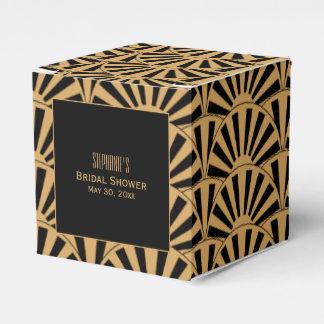 Gold and Black Art Deco Fan Flowers Bridal Shower Party Favour Box