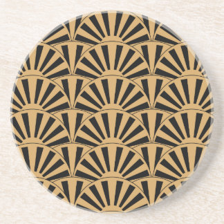 Gold and Black Art Deco Fan Flowers Motif Beverage Coasters