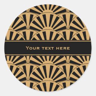 Gold and Black Art Deco Fan Flowers Motif Classic Round Sticker