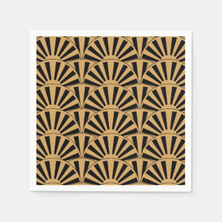Gold and Black Art Deco Fan Flowers Motif Disposable Napkin