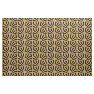 Gold and Black Art Deco Fan Flowers Motif Fabric