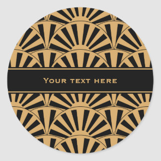 Gold and Black Art Deco Fan Flowers Motif Round Sticker