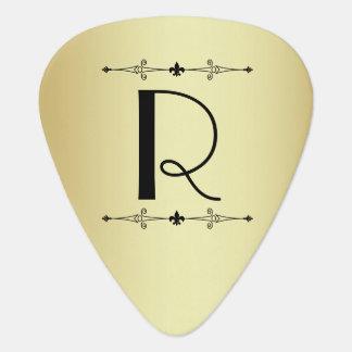 Gold and Black Art Deco Monogram Guitar Pick