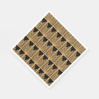 Gold and Black Art Deco Pattern Paper Napkins