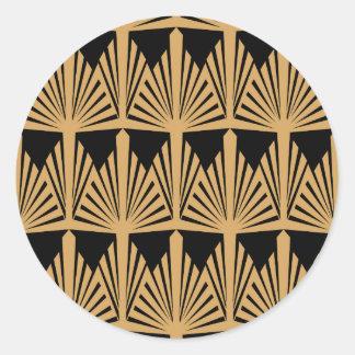 Gold and Black Art Deco Pattern Round Sticker