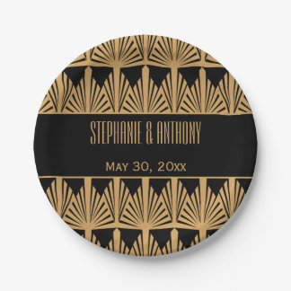 Gold and Black Art Deco Pattern Wedding Paper Plate