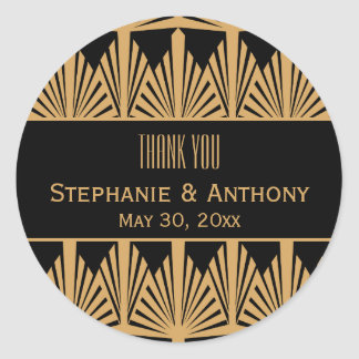 Gold and Black Art Deco Pattern Wedding Thank You Classic Round Sticker