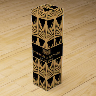 Gold and Black Art Deco Pattern Wedding Thank You Wine Bottle Boxes