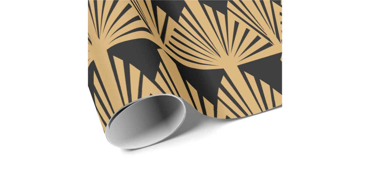 Gold And Black Art Deco Pattern Wrapping Paper Zazzle Co Uk