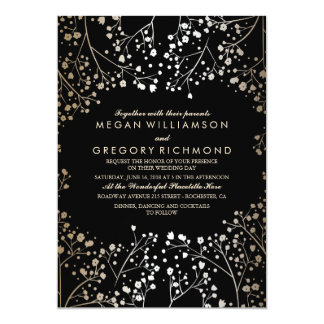 Gold and Black Baby's Breath Wedding 13 Cm X 18 Cm Invitation Card