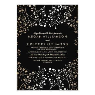 Gold and Black Baby's Breath Wedding 13 Cm X 18 Cm Invitation Card