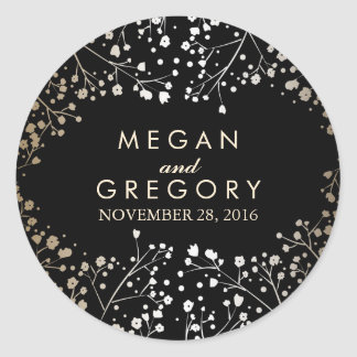 Gold and Black Baby's Breath Wedding Round Sticker