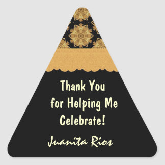 Gold and Black Birthday Thank You R354C2 Stickers