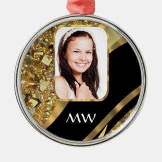 Gold and black bling christmas ornament