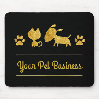 gold and black cat dog pet logo mouse pad