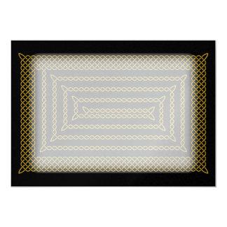 Gold And Black Celtic Rectangular Spiral Card