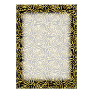 Gold And Black Celtic Spiral Knots Pattern Custom Invitations
