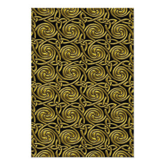 Gold And Black Celtic Spiral Knots Pattern Art Photo