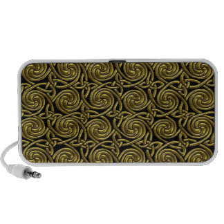 Gold And Black Celtic Spiral Knots Pattern Travel Speaker