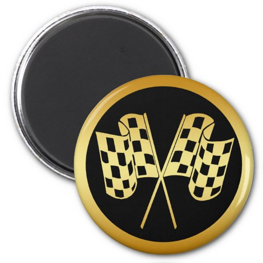 GOLD AND BLACK CHECKERED FLAG MAGNET