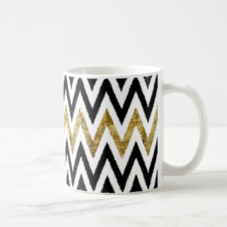 Gold and Black Chevron Stripes Coffee Mug
